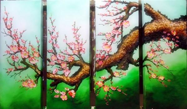 vẽ tranh trên cửa kiếng